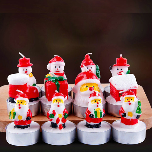 3pcs/set Christmas Candles Santa House Snowm Shaped Scented Wax Candles New Year Wedding Party Candle Home Decor light Xmas Gift