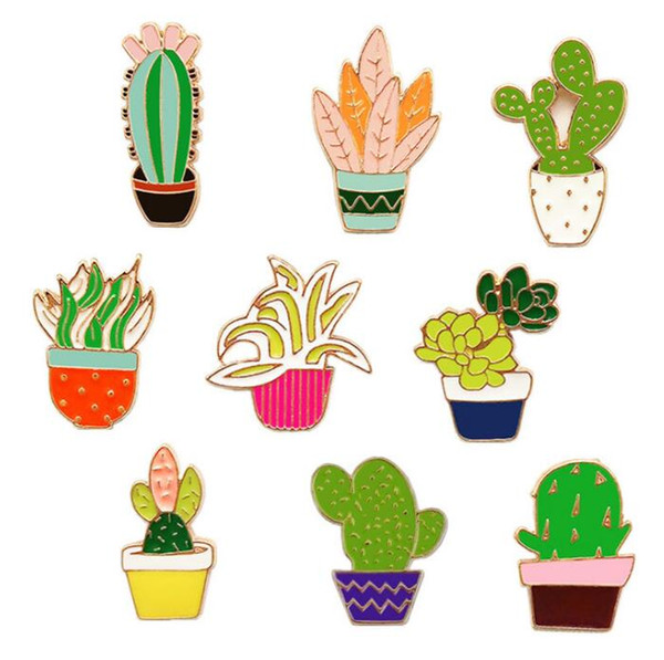 10 PCS Cactus Metal Badges Safety Pins For Clothes Badges Fashion Brooch Icons On Backpack Decorative Brooches X-60