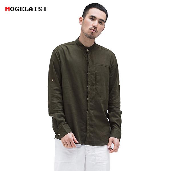 Chinese style shirt 2018 new Retro linen shirt men solid Stand collar comfortable Natural materials linen cotton men 4XL