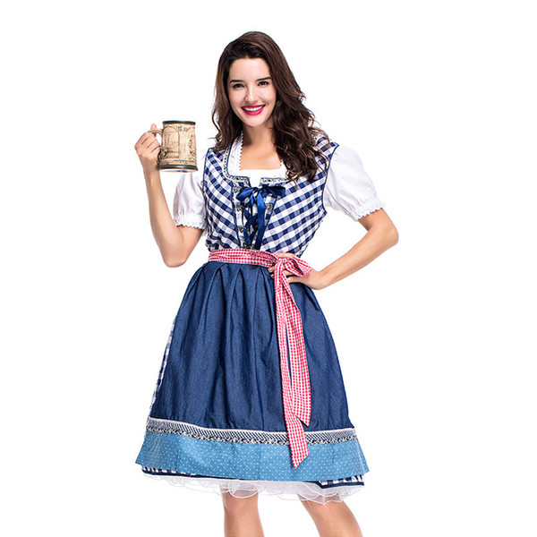 feedd410f Germany Tradition Costume Oktoberfest Beer Girl Costume Bavarian Dirndl  Dress S-XL Halloween Beer Girl