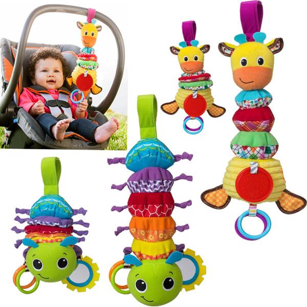 Baby rattan neonatale Caterpillar Giraffe giocattolo giraffa giraffa giocattolo estensibile culla campana campana campanatura campanatura ciondolo KBH05