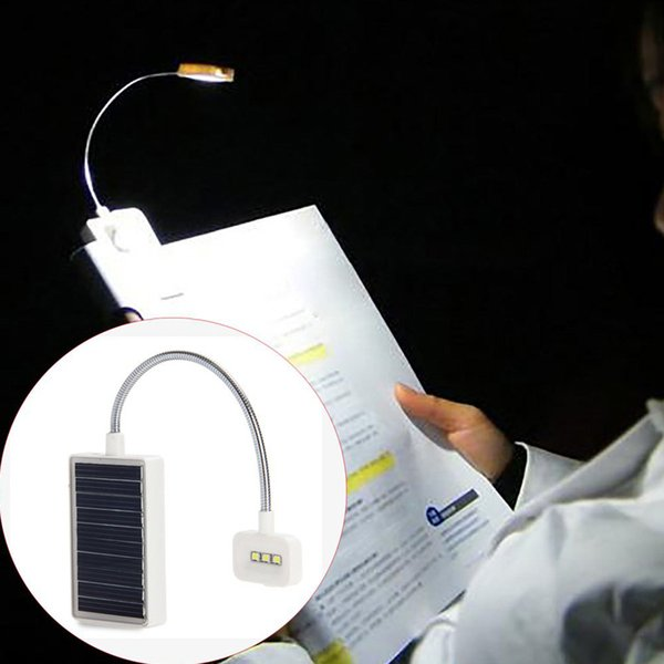 Mini Solar Power LED Book Light Clip On Flexible Adjustable LED Table Lamp For Music Stand and Book Reading Light