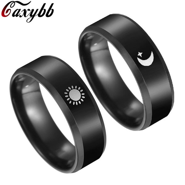 Black Plated Sun and Moon Promise Ring for Couple Cool Anel Falange Championship Rings For Women Men BFF Valentines' Day Gift