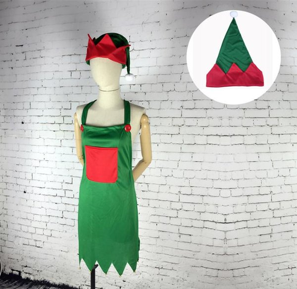 Elf Apron & Hat Set Adult Elf Costume for Christmas Party Fancy Dress Outfits Christmas Decoration SN2132