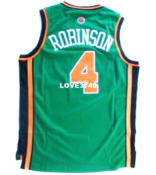 Men #4 Nate Robinson GREEN WHITE BLUE Mesh fabric Full embroidery College jersey Size S-4XL or custom any name or number College jersey