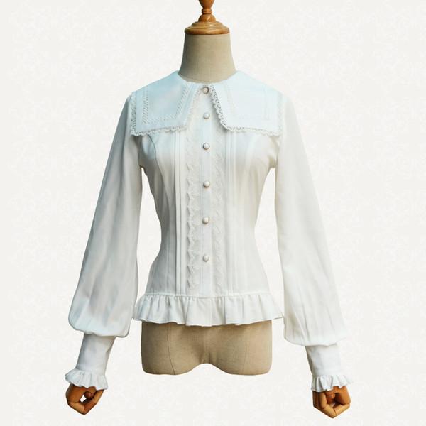 Spring and Summer Sweet LOLITA Blouse White Chiffon Lace Long Lantern sleeve Gothic Shirt Costumes
