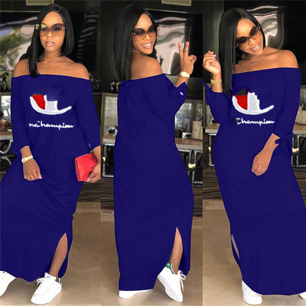 top popular Women Champions Letter Dress Brand Shoulder Out Split Long Hoodie Dresses Autumn Fall Fashion Long Sleeve Skirt Plus Size Clothing 2019