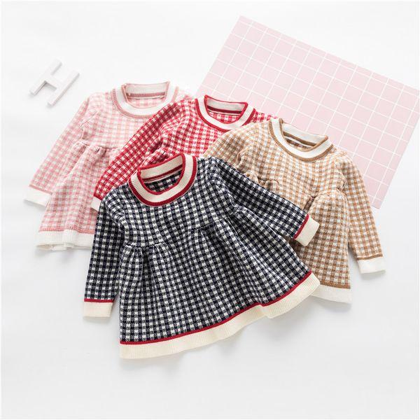 2018 Outono de Manga Longa Do Bebê Crianças Meninas Doce crianças o-pescoço Xadrez Malhas Partido Princesa Tutu camisola Vestido Vestidos C939