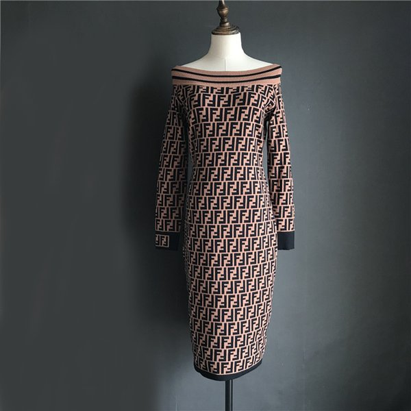 European new design donna doppia lettera F jacquard sexy slash neck manica lunga fasciatura aderente midi abito lungo SML