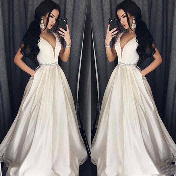 Elegant Plus Size Prom Dresses A-Line bodenlangen langes Abendkleid Perlen Abendkleid Perlen Sash Robe De Soiree