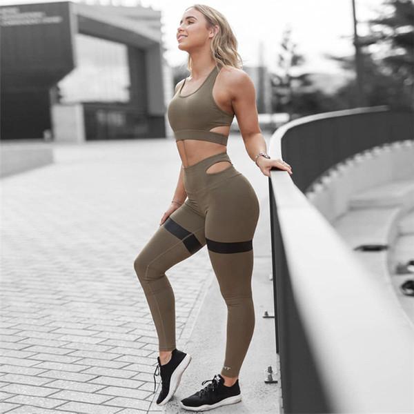 Hot Selling Black Soft Elastic Sports Suit Summer Hot New Women's Sexy Vest Yoga Fitness Pants Suit S-L HTS38