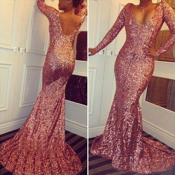 Sereia Lantejoulas Vestidos de Baile 2018 V Neck Manga Longa Masquerade Backless Sul Africano Graduação Evening Party Gown Plus Size Custom Made