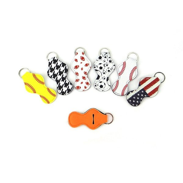 Small Chapstick Holder Neoprene Lipstick Sleeve Keychain 8 Shape Women Fasion Key Buckle Various Colors Diy Charm 1 5ny Cc