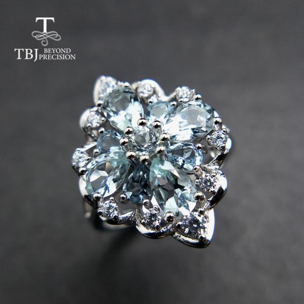 TBJ, bague en pierres précieuses avec aigue-marine brésilienne 100% naturelle 3 ct en argent sterling 925, bijoux en pierre précieuse pour dame avec boîte-cadeau