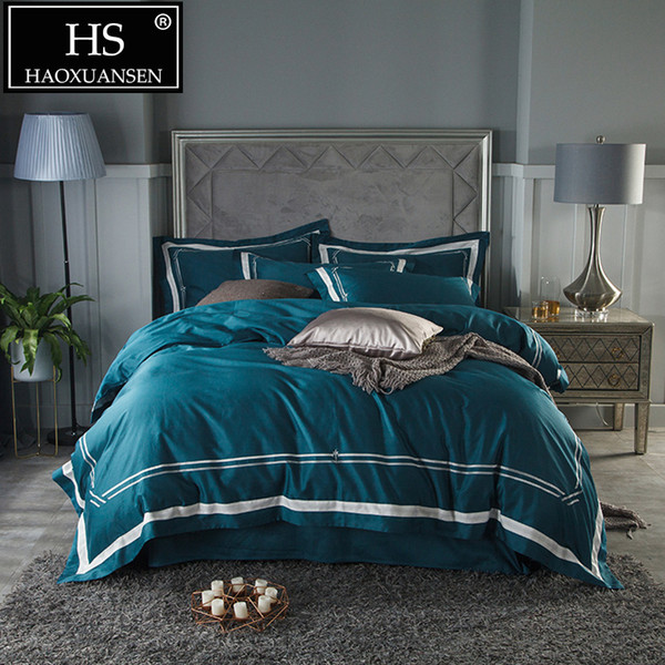 Comforter Bedding Sets 100% Cotton Plain Embroidery Bedding Set King Queen Size Bed Sheets Duvet Cover Set Pillowcases Literie