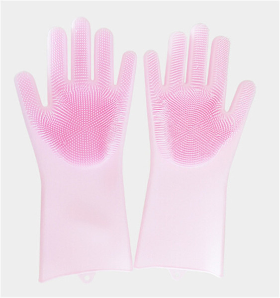 2018 new design 3 Color New Cleaning Brush Silicone Glove Clean the bathroom cook and pet car Magic glove Free shipping