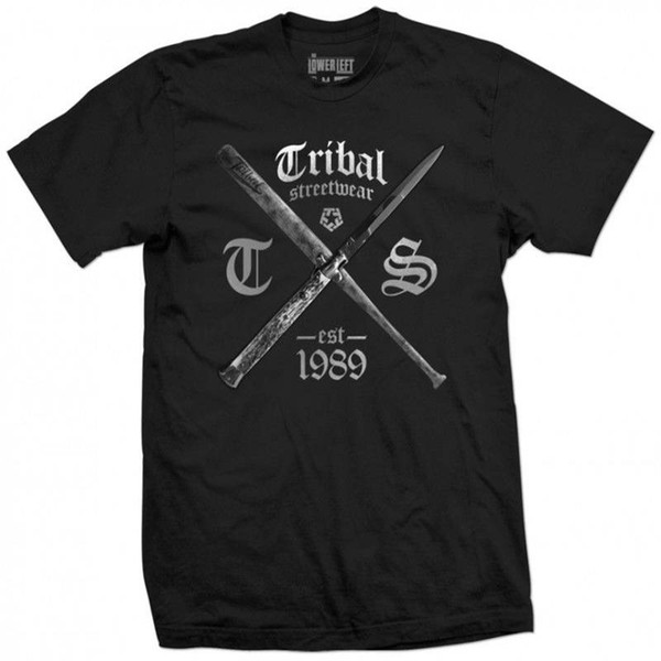 Cotton Shirts TRIBAL GEAR Original BAT BLADE T-Shirt Tee schwarz black Funny Crew Neck Short-Sleeve T Shirt