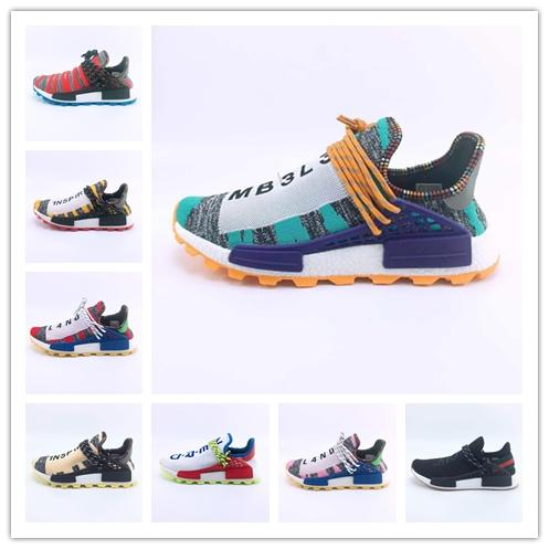 2018 Homecoming Creme x NERD Solar PacK Human Race Running Shoes pharrell williams Hu trail trainers Men Women runner Sports sneakers 36 47