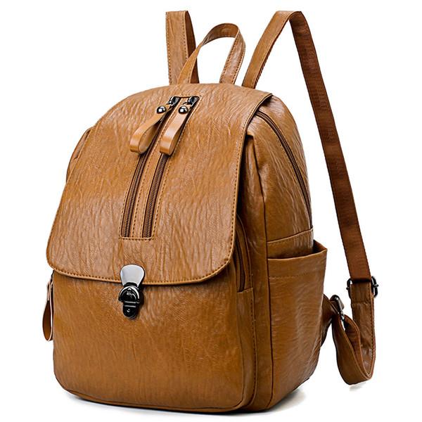 Brand Women Flap Backpack Fashion Women Bag High Quality PU Leather Two Vertical Zippers Bookbag Laptop For Teenage Girls