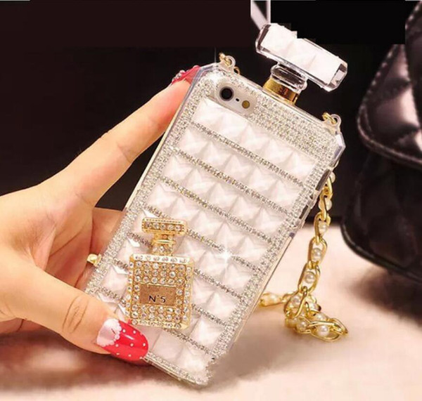 Fashion Diamond Perfume Bottle Case with Chain Lanyard Phone Case for iphone 6 7 8plus x XR Xsmax Samsung S8 S9 Note9 S10
