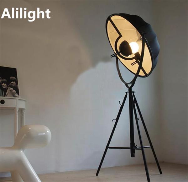 Vintage Cloth Iron E27 Floor Lamps Black White Standing Lamp Floor Light for Living Room Bedroom Parlor Bar Restaurant Fixtures