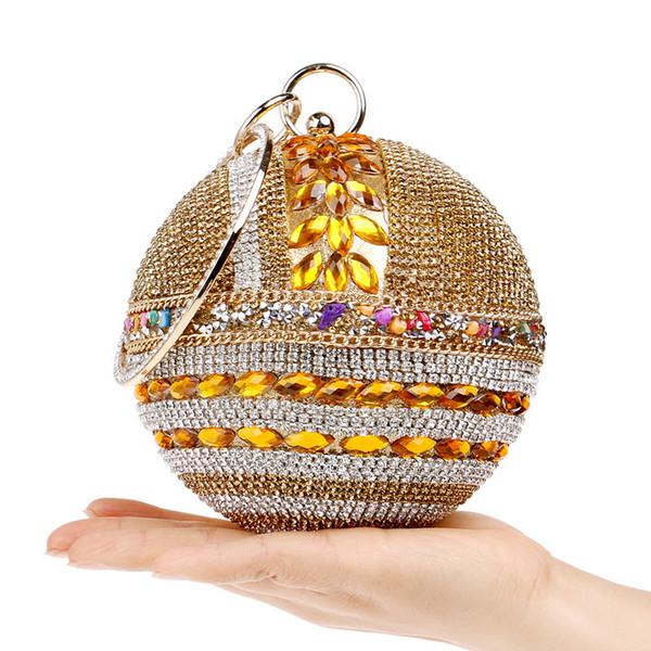 Forme a mujeres el bolso cristalino de las mujeres de las cuentas del bolso del partido del banquete de boda nupcial de la forma redonda de la bola embragues los monederos de las mujeres