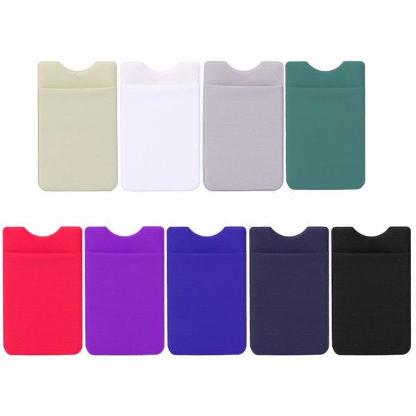 THINKTHENDO Colorful Elastic Adhesive Sticker Cell Phone Wallet Case Credit ID Card Holder Pocket 9x5.5cm
