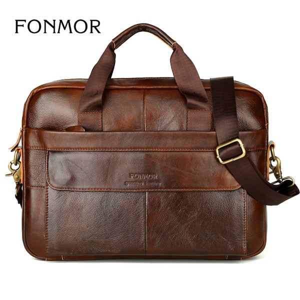 top popular New Men Briefcases Genuine Leather Handbag Vintage Laptop Briefcase Messenger Shoulder Bags Men's Bag 2020