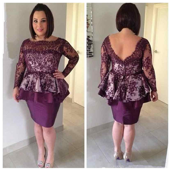 Vintage Purple Mother of the Bride Dresses 2018 Lace Long Sleeves Plus Size Knee Length Formal Party Gowns Mother Evening Wear