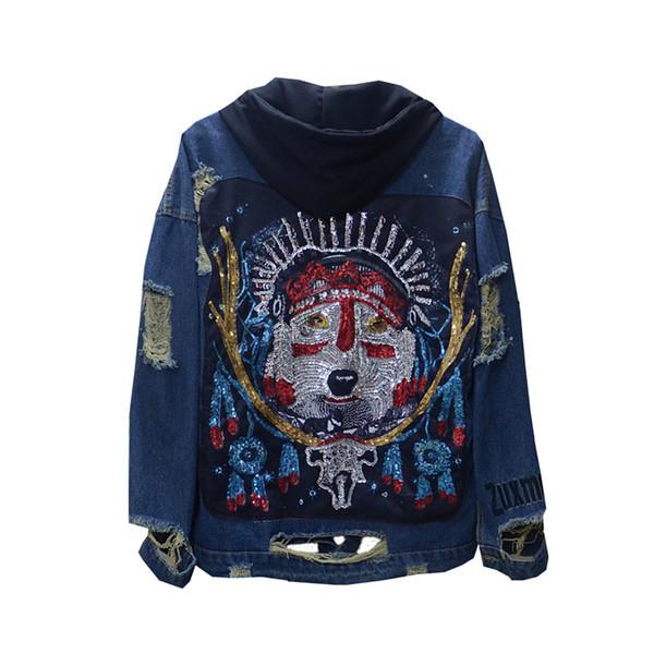 Unisex abbigliamento moda nuova moda blu giacca di jeans con paillettes fascino testa di cane jeans allentati cappotto con cappuccio Street Wear Giacche in autunno