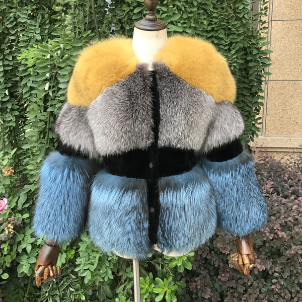 2018 New Real for Women Winter Natural Sheep Shearing Full Pelt Thick Warm Coat Luxury Silver Fox Fur Jacket C18110301