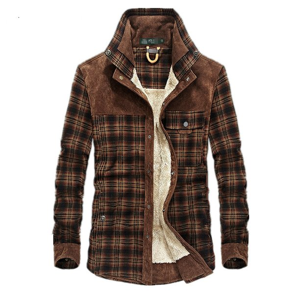 Men's Fashion Casual Cotton Thick Plaid Shirt Autumn and Winter Retro Thick Warm Shirt Jacket Top Flannel Men