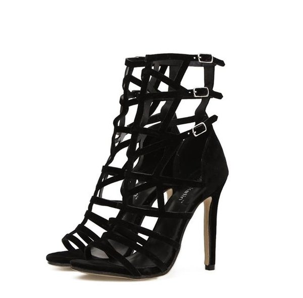 Rome style high heels gladiator sandal for women designer shoes black synthetic suede super sexy party club wear 2018 size 35 to 40
