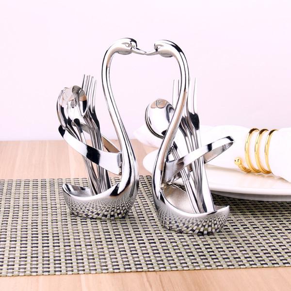 Swan Vaisselle De Cuillère Porte-Fourchette Porte-Couverts Ensembles De Cuisine Décorer De Fruits Décoration De Fête De Mariage Vaisselle Ensemble Cuisine Bar Hôtel