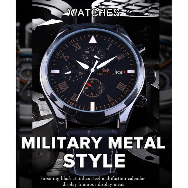 Forsining Watches for Men Black Genuine Leather Mechanical Watches Calendar Display Military Clock Men Wrist Watch