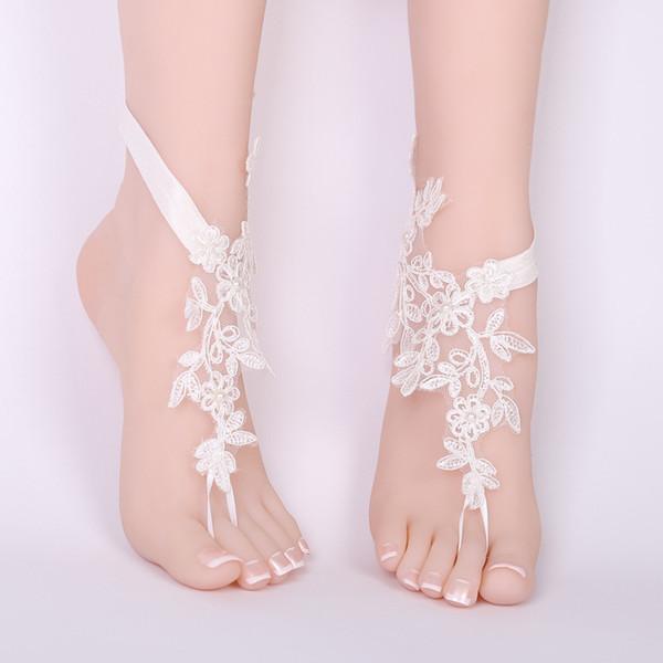 Sexy frauen Elfenbein spitze fußkettchen Fuß Kette Barfuß Sandalen Fußkettchen Stickerei Blume Braut hochzeit prom zubehör Fußschmuck