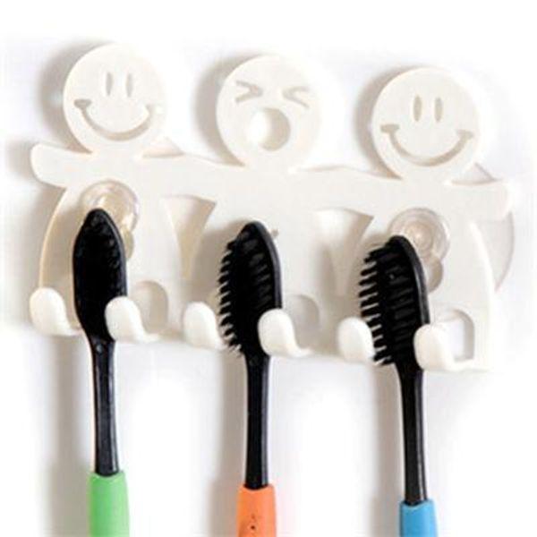 top popular Suction Hooks 5 Position Tooth Brush Holder Bathroom Sets Cute Cartoon Toothbrush Holder 2021