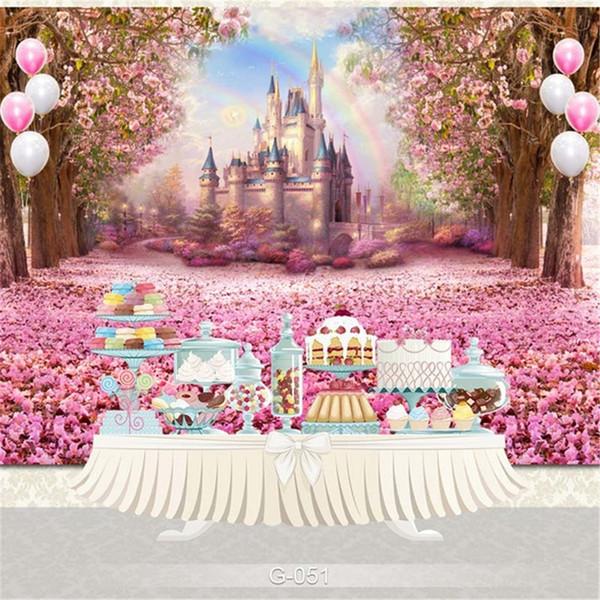 Fondali fotografia di compleanno principessa castello di fotografia fondale stampato fiori di ciliegio rosa fiori alberi petalo Photo Studio sfondi