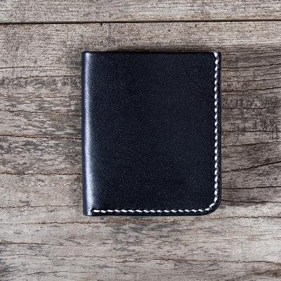 ALAVCHNV pflanzlich gegerbte Haut ultradünne, von Hand genähte, kurze Mini-Portemonnaie-Karte mit kurzer Passform YG478