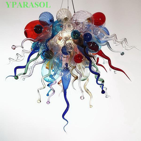 Schönes modernes Design Murano Glas LED Kronleuchter Kunst Dekoration Pendelleuchten Energiesparende Lichtquelle Chihuly Kristall Kronleuchter