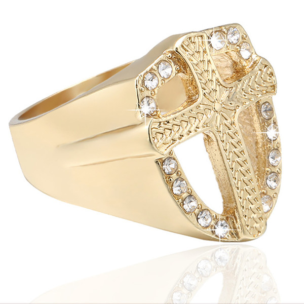Wholesale New Luxury Men's Hip Hop Simulated Diamonds Ring Christian Jesus Ring with Crystal Religious Gold Plated Cross Ring for Free Shipp