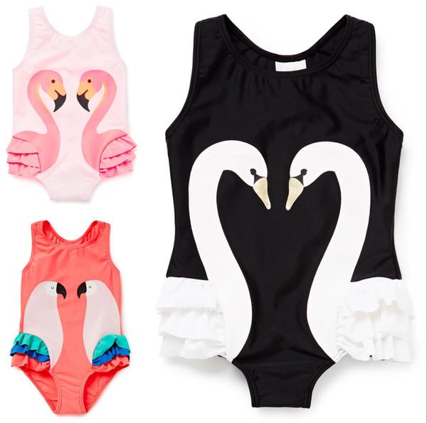 summer baby girls black pinks swans swimwear+hat swimming suit infant toddler kid spa beach bathing clothing