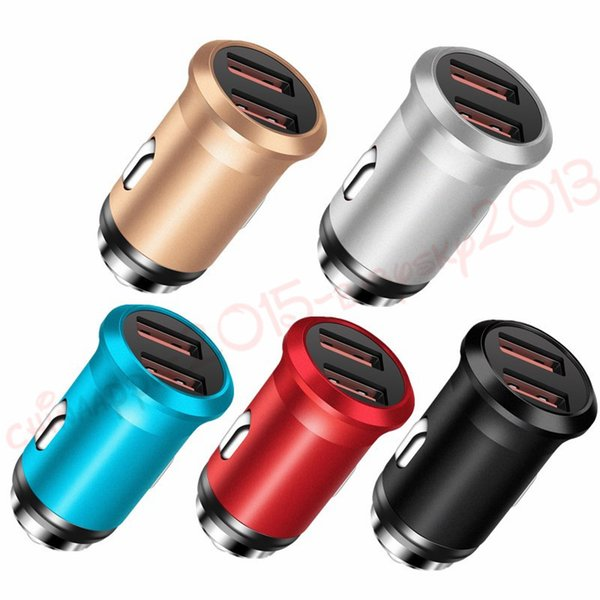 2.4A Dual USB Car Charger Super Mini Metal Quick Charger Smart Phone Fast Charging Adapter for iPhone X 8 7 Samsung Xiaomi