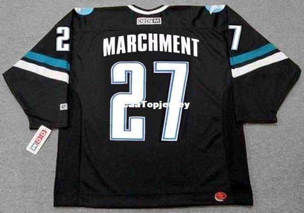 Personalizado Mens Jerseys BRYAN MARCHMENT San Jose Tubarões 2001 CCM Alternate Barato Retro Hockey Jersey