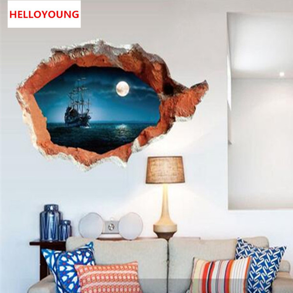 Three-dimensional Scenery Wall Sticker Ocean Bedroom Living Room Wall Stickers Home Decor Fashion 3D Sticker mural