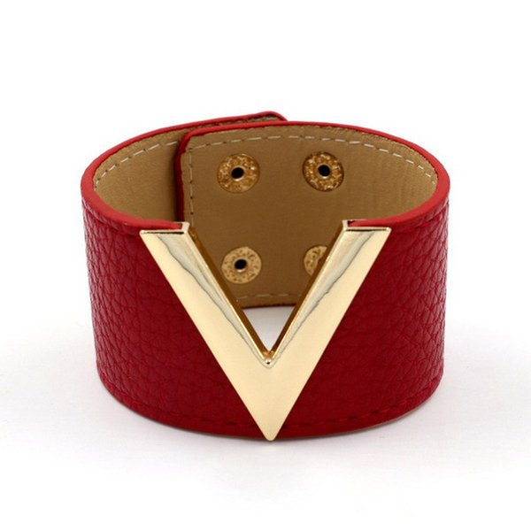 2018 The Big Leather Bracelet Simple All-Match V Word Wide Leather Bracelet Vintage Punk Bracelet&Bangle New Hand Jewelry JB0403