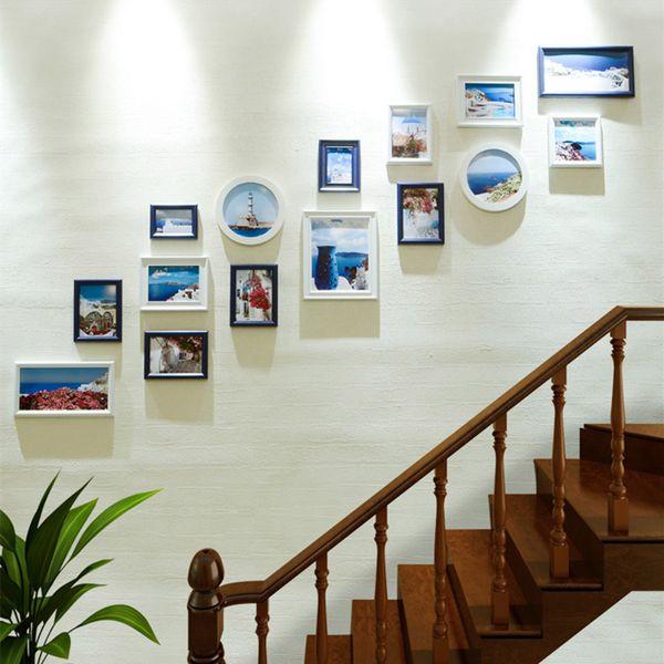 Cadre en bois pour photos Cadre photo pour décoration nordique Maison Cadres blancs pour peintures 15 pcs / set Tenture murale Photo Escaliers Décor