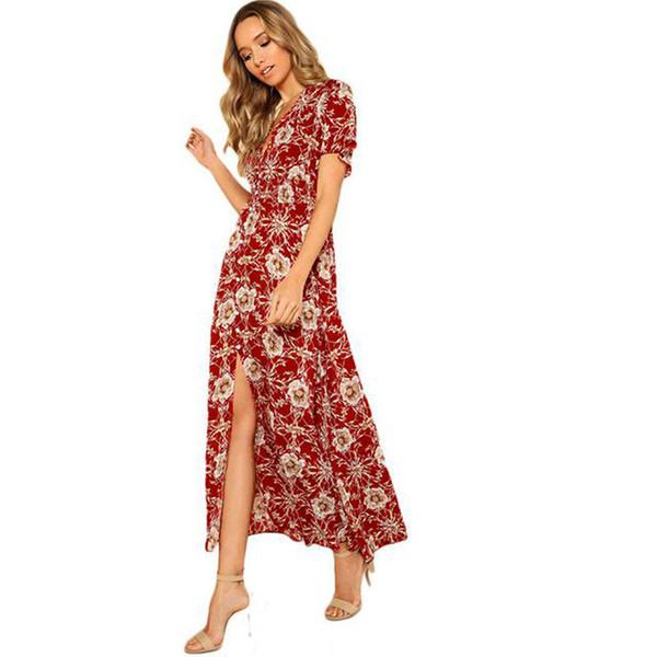 b39d018108ac Womens V-Neck Maxi Dress 2019 Summer Boho Short Sleeve Buttons Front Long  Dresses Floral