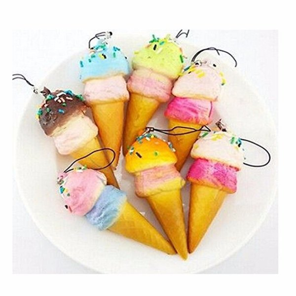 10cm New Cute Soft Jumbo Ice Cream Cone squishy slow rising Cell phone Straps Bread Scented Key Chains Charms wholesale free shipping 2018