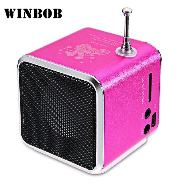 WINBOB TD-V26 Aluminium Digita linternet radio FM receiver SD TF USB Play Stereo Altavoz mini Speaker portable FM radio V26RDH